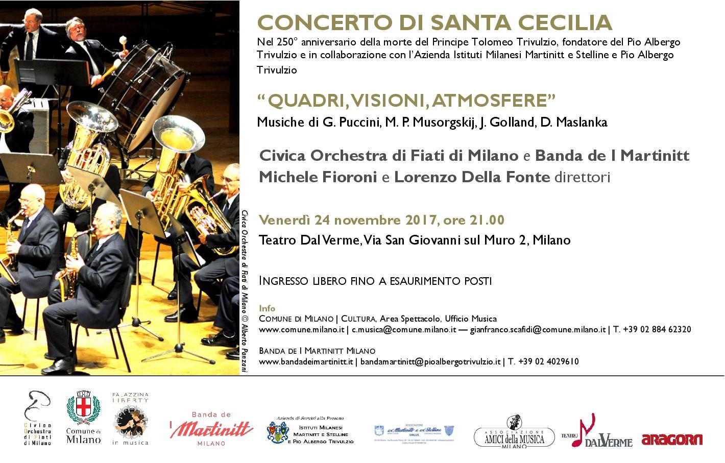 Concerto in onore di Santa Cecilia, Civica Orchestra di Fiati del comune di Milano e Banda de I Martinitt