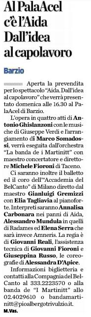 Aida, dall'idea al capolavoro. Estratto dal quotidiano La Provincia di Lecco, 25.07.2017