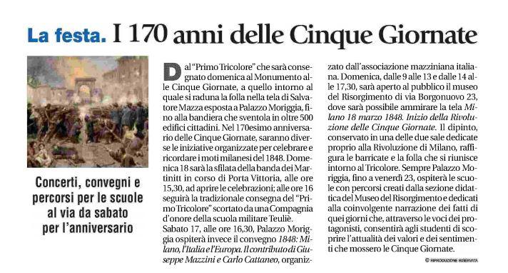 Commemorazione alle Cinque Giornate di Milano, Avvenire 15.03.2018