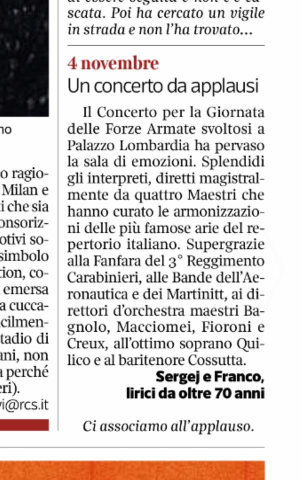 Concerto Fanfara Aeronautica e dei Carabinieri. Corriere della Sera, 13.11.2017