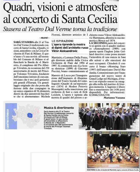 Concerto di Santa Cecilia. Estratto da Il Giorno Milano, 24.11.2017