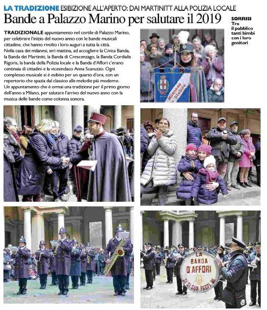 Saluto alle Autorità di Milano. Estratto da Il Giorno Milano, 02.01.2019