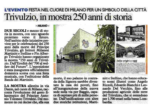 Festa per i 250 anni di Trivulzio in mostra in via Dante, Il Giorno, 13.03.2018