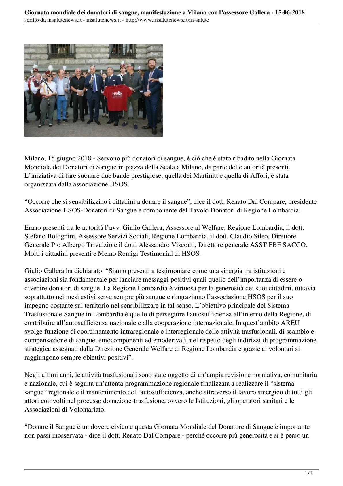 Giornata Mondiale della Donazione di Sangue, Insalute-news-del-15.06.2018