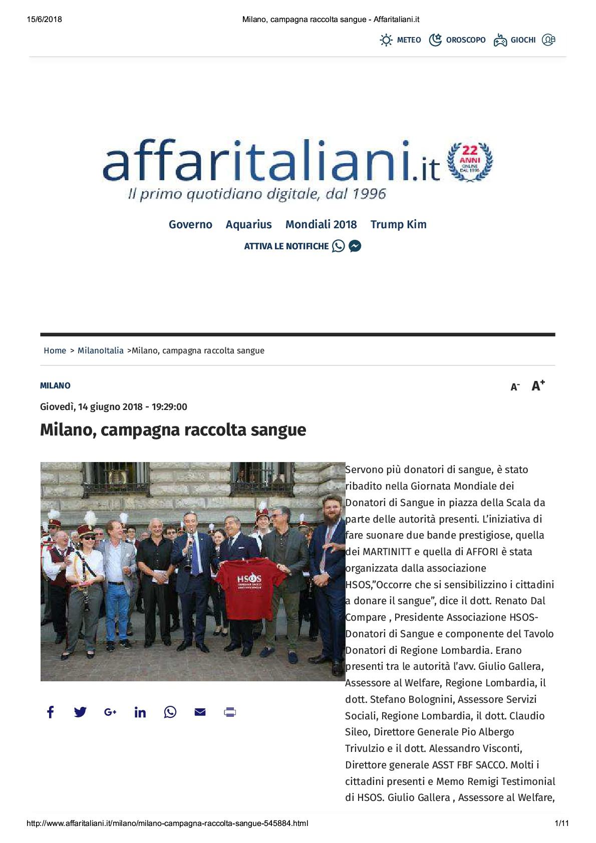 Giornata Mondiale della Donazione di Sangue, Affaritaliani.it del-15.06.2018