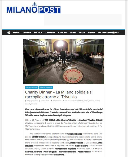 Charity Dinner, MilanoPost del 17.06.2018