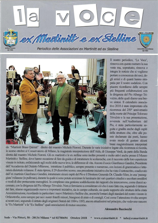La voce ex Martinitt e ex Stelline, ottobre 2018